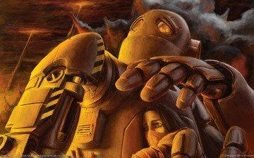 девушка, война, робот