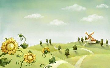 дорога, облака, лето, мельница, подсолнухи, детство, простор