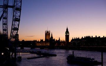 река, корабль, лондон, колесо, биг бен, обозрения