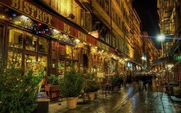 ночь, люди, улица, франци, лион