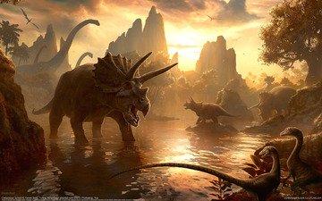 вечер, горы, миры, динозавры, kerem beyit, водопой