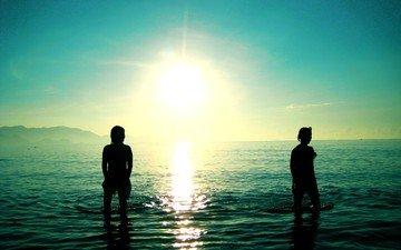 солнце, обои, волны, море