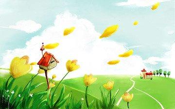 лепестки, дом, тюльпаны, почтовый ящик