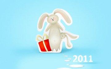 новый год, подарок, зайцы, 2011 год, встреча нового года