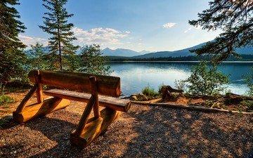 небо, озеро, скамейка, канада, джаспер, провинция альберта