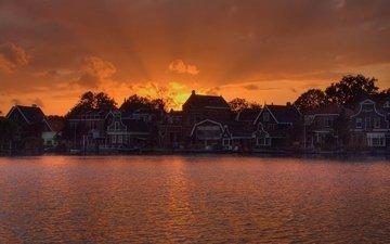 lake, sunset, house