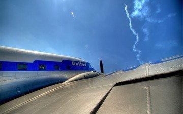 небо, самолет, ракета, крыло