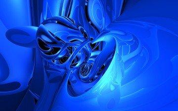 отражение, синий, изгибы