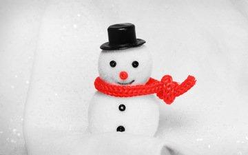 белый, игрушка, снеговик