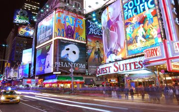 ночь, огни, движение, нью-йорк, реклама, таймс-сквер