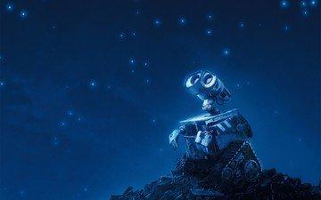 синий, звезды, робот, валли, walle