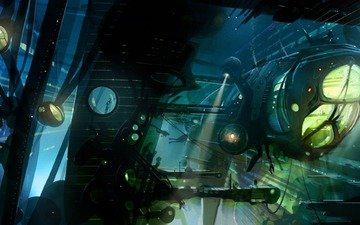 корабль, под водой, подводный, warship, аквалангисты, прожектора