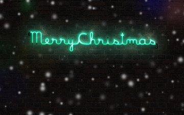 снег, зима, надпись, стена, кирпич, праздник, рождество, xmas, счастливого рождества