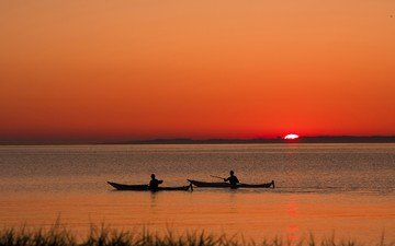 озеро, закат, лодки