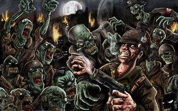 пистолет, луна, огонь, зомби, солдат, сигареты, the living dead