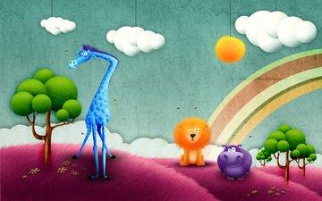 rainbow, africa, giraffe, hippo