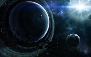 звезды, планеты, астероиды, кольца, туманности