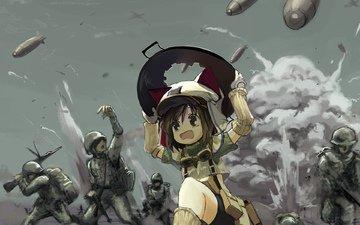 война, солдаты, девочка, бежит, бомбы