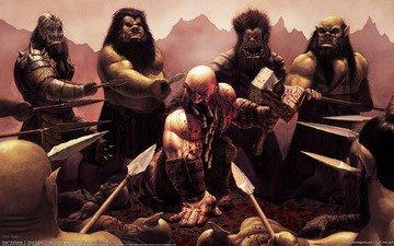 кровь, битва, молот, steve argyle, cg wallpapers, dwarf barbarian, дварф, окружение