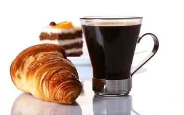 утро, кофе, круассан