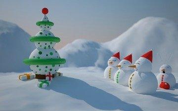 зима, настроение, праздник, ёлочка, снеговечки