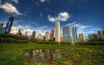трава, фото, города, небоскребы, дома, лужа, лужи