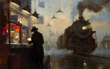 station, picture, oil, the engine