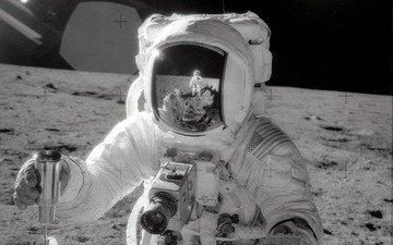 отражение, луна, космонавт