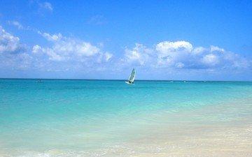 вода, море, горизонт, лето, лодка, тепло, парус