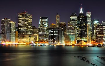 night, lights, skyscrapers, manhattan, nyc, columbia, heights, brooklyn, lower