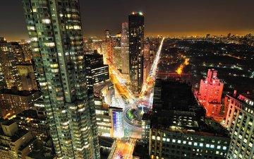 дорога, ночь, парк, машины, здания, манхеттен, central, ноч, нью - йорк