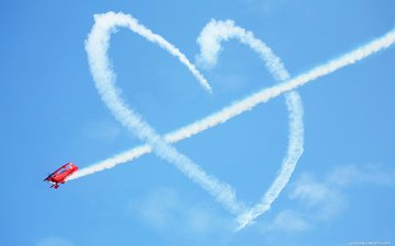 the sky, the plane, heart