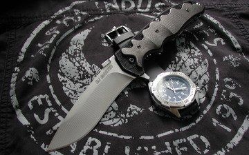 watch, fabric, knife, knives & wrist watch