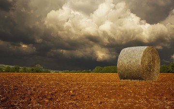 clouds, storm, field