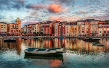 вечер, лодка, здания, флорида, орландо
