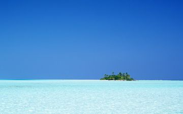 небо, пальмы, океан, остров