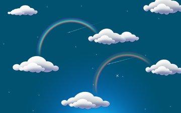 облака, радуга