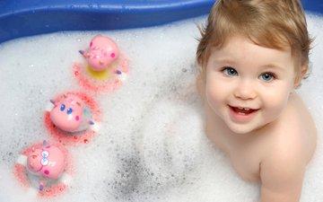 улыбка, игрушки, ребенок, купание, ванна