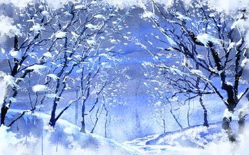 figure, trees, snow, winter