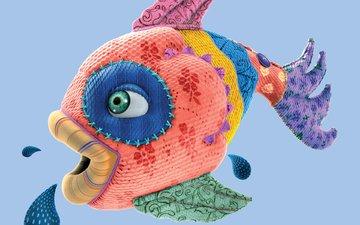 рыбка, губки, рыба, лоскутки