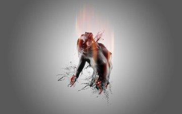 девушка, фон, кровь, брызги, серый, грудь, нет, конечностей, вены, сосуды
