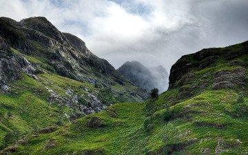 небо, горы, камни, высота, ущелье, шотландия