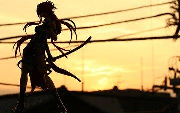 road, sunset, girl, sword, ribbons, silhouette, hill, katana