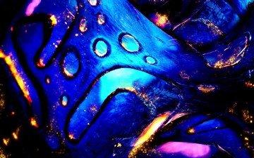 blue, sparks