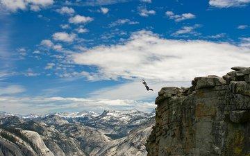 горы, обои, парень, человек, прыжок, ситуации