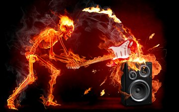 guitar, fire, rock, skeleton, electricity