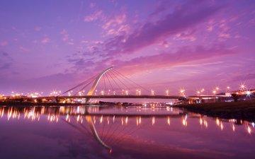 закат, мост, тайвань