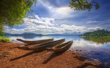 лодки, водоем, три, из, стволов