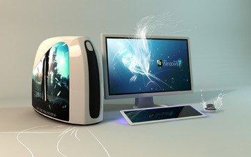 компьютер, семерка, изображение на мониторе, винда