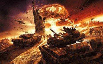 война, ссср, статуя свободы, world in conflict soviet assault